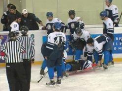 Erzurum`da buz hokeyi maçında kavga