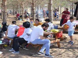 Erzurum'da tatili piknik yaparak geçiriyorlar