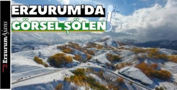 Erzurum'da kış ve sonbahar birleşti!