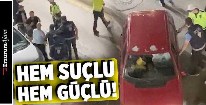 Alkollü şahıs aracını polislerin üzerine sürdü