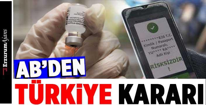 Avrupa Birliği, Türkiye'nin aşı sertifikasını tanıma kararı aldı